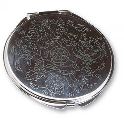 Espejo cromado floral